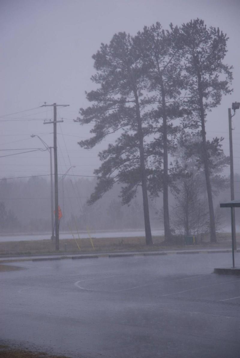 It's pouring down rain in Savannah